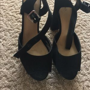 Black Velvet Platform Heels (approx. 4 in tall)